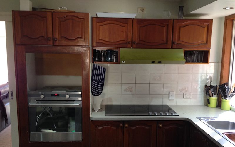 Before photo of the Rutter's old kitchen before getting a complete makeover.